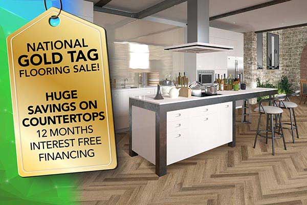 Get huge savings on countertops during our National Gold Tag Sale at Ultimate Flooring & Paint